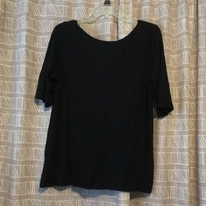 Black 3/4 sleeve low back top